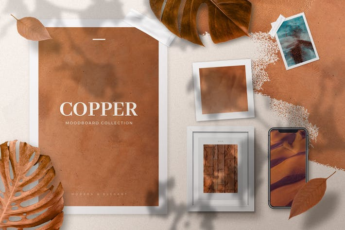 Thumbnail for Copper Realistic Moodboard Mockups