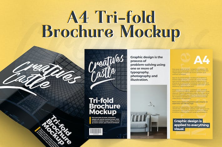 Thumbnail for A4 Tri-fold Brochure Mockup