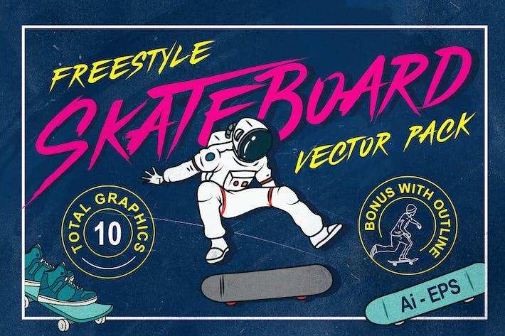 Thumbnail for Freestyle Skateboard Illustration Vector Pack