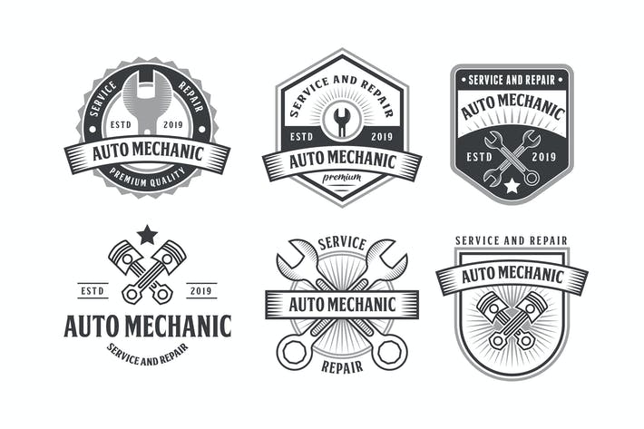 Thumbnail for Set of Automotive Mechanic Logo Badge