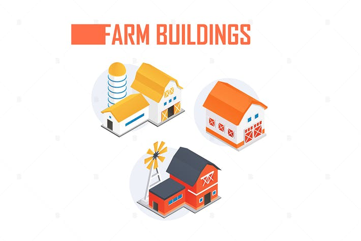 Thumbnail for Farm buildings - colorful isometric elements