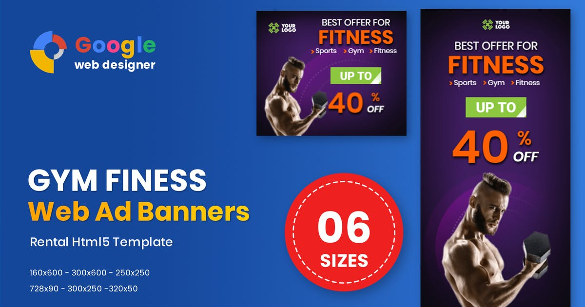 Download Fitness HTML5 Animate Banner Ads Google Web Design by MotionFF