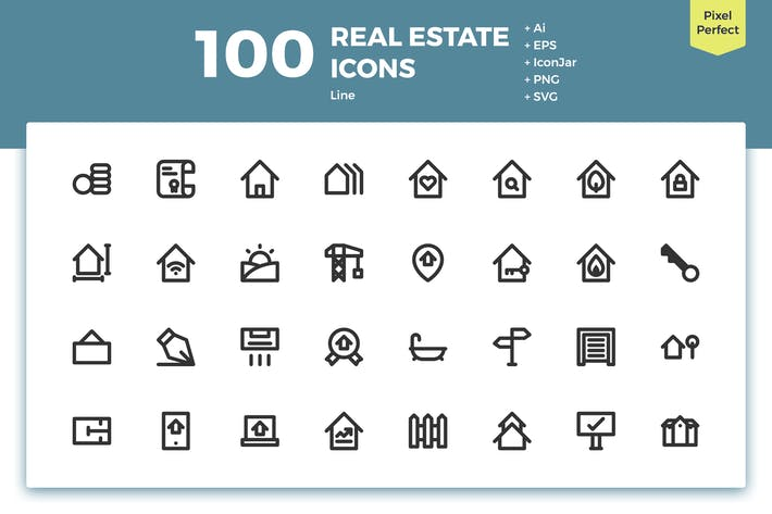 Thumbnail for 100 Real Estate Icons (Line)