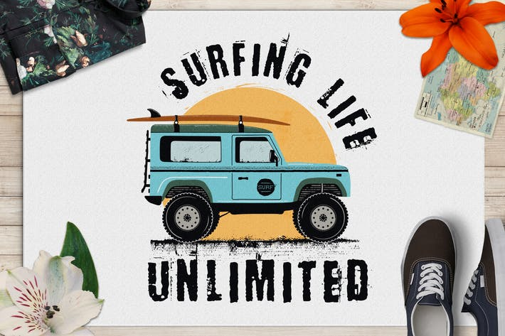 Thumbnail for Surfing Life Logo, Surf Retro Emblem, Sommer Abzeichen