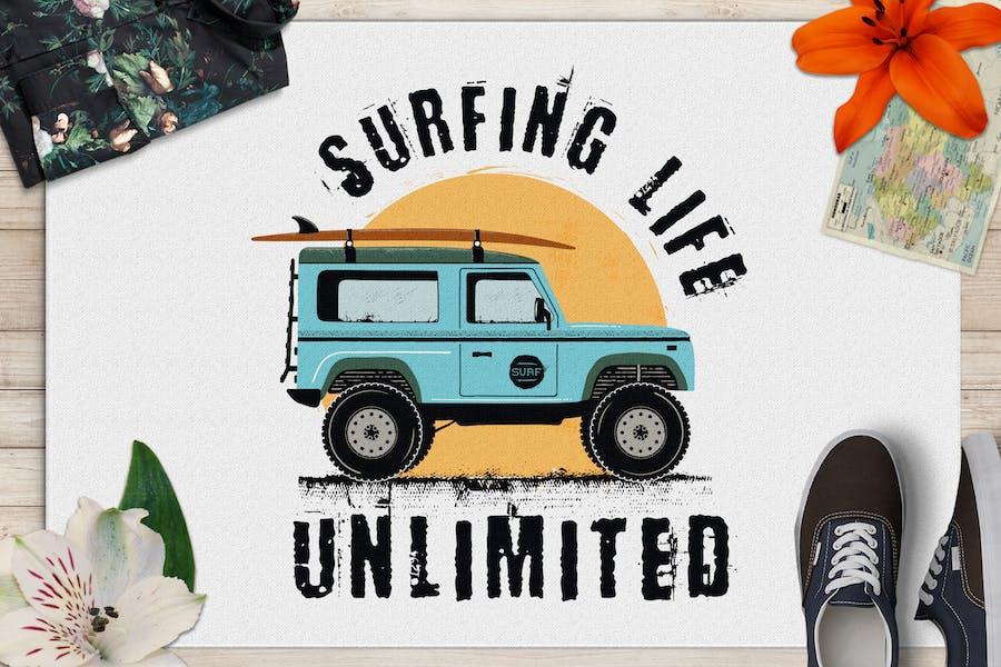 Surfing Life Logo, Surf Retro Emblem, Summer Badge