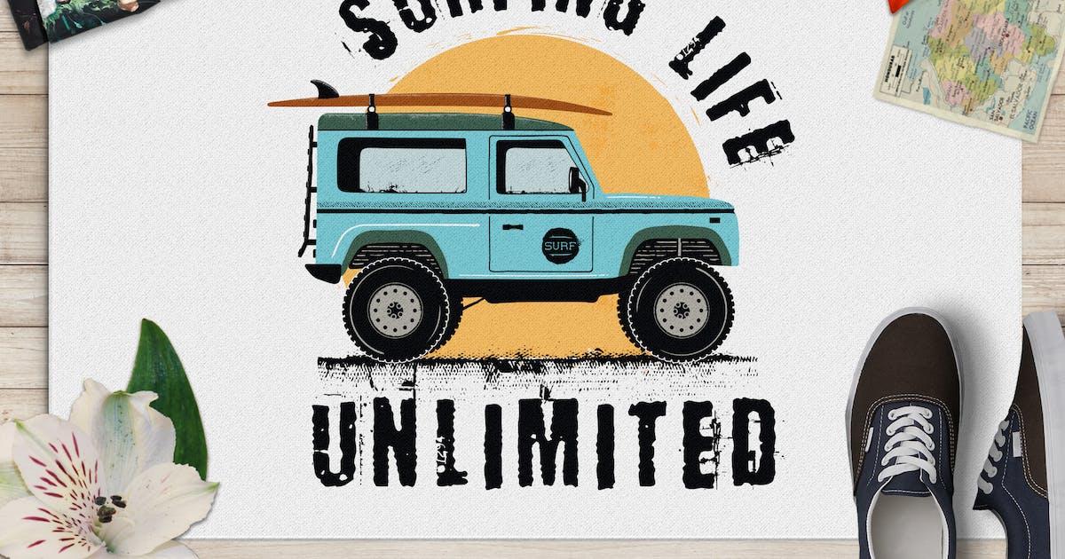 Surfing Life Logo, Surf Retro Emblem, Summer Badge by JeksonJS