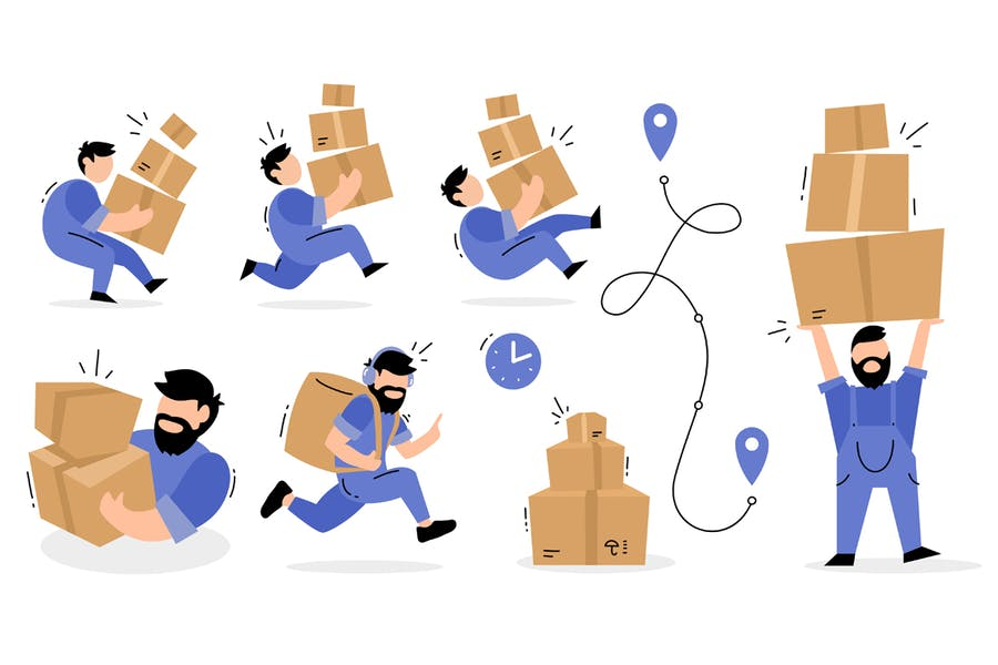 Set of delivery man illustrations
