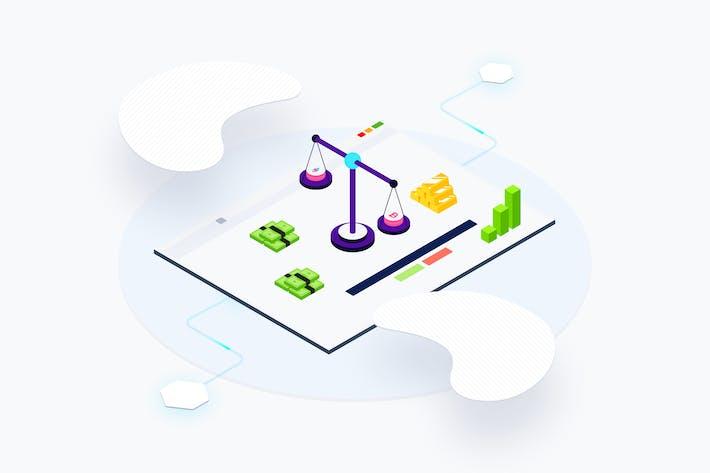 Thumbnail for Plataforma Blockchain de intercambio web isométrico