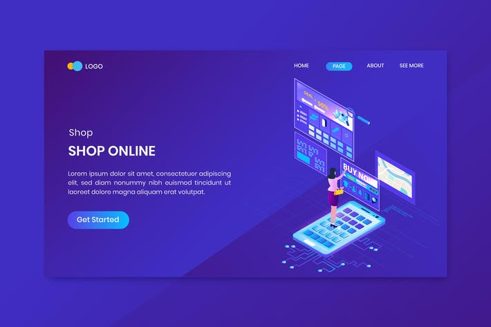 Thumbnail for Shopping Isometric Concept Landing Page