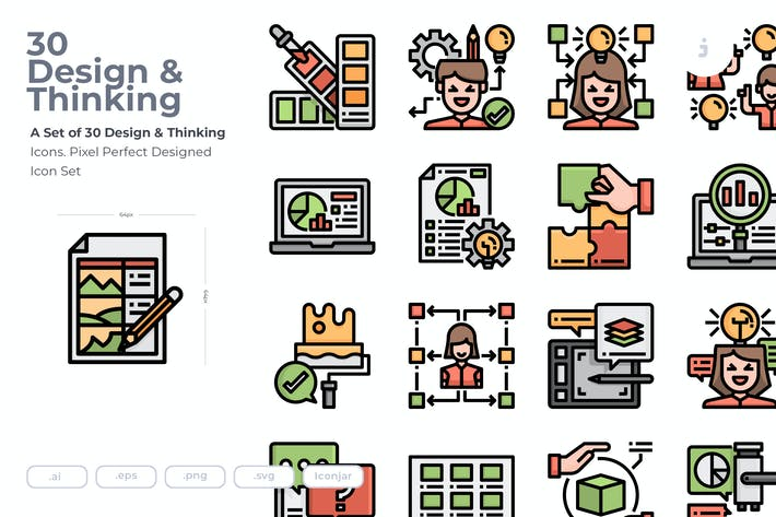 Thumbnail for 30 Design and Thinking Icons