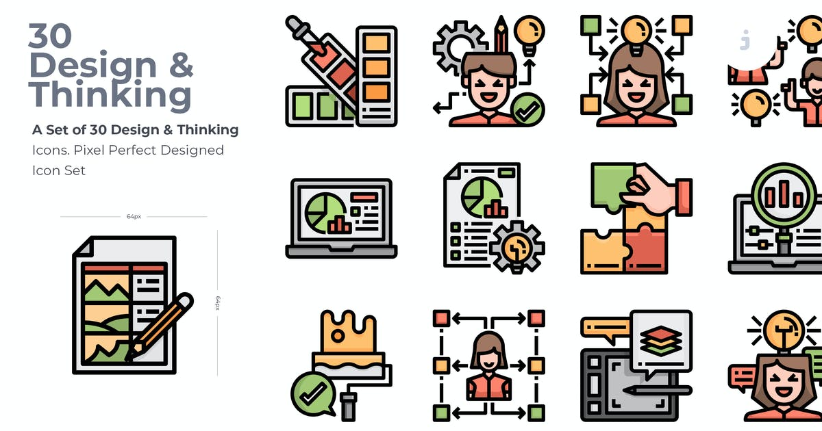 Download 30 Design and Thinking Icons by Justicon