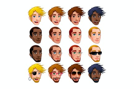 Male Faces, Vector Isolated Characters