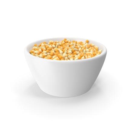 Corn Seeds in Ceramic Bowl