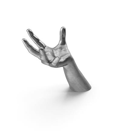 Pose de sostener objetos de esfera grande de plata