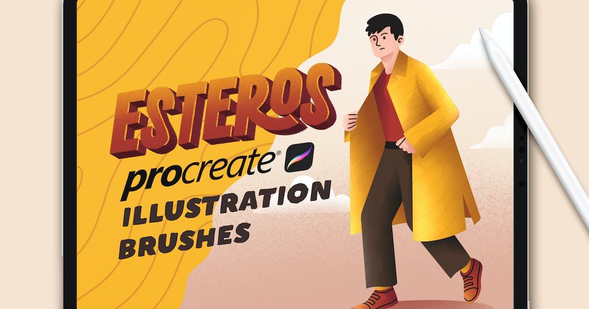 Download ESTEROS - Procreate Illustration Brushes by RakataStudio