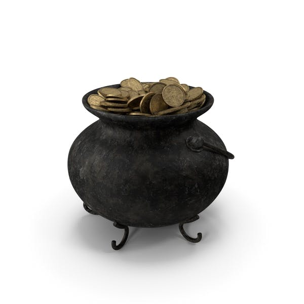 Pot Old Metall With Coins