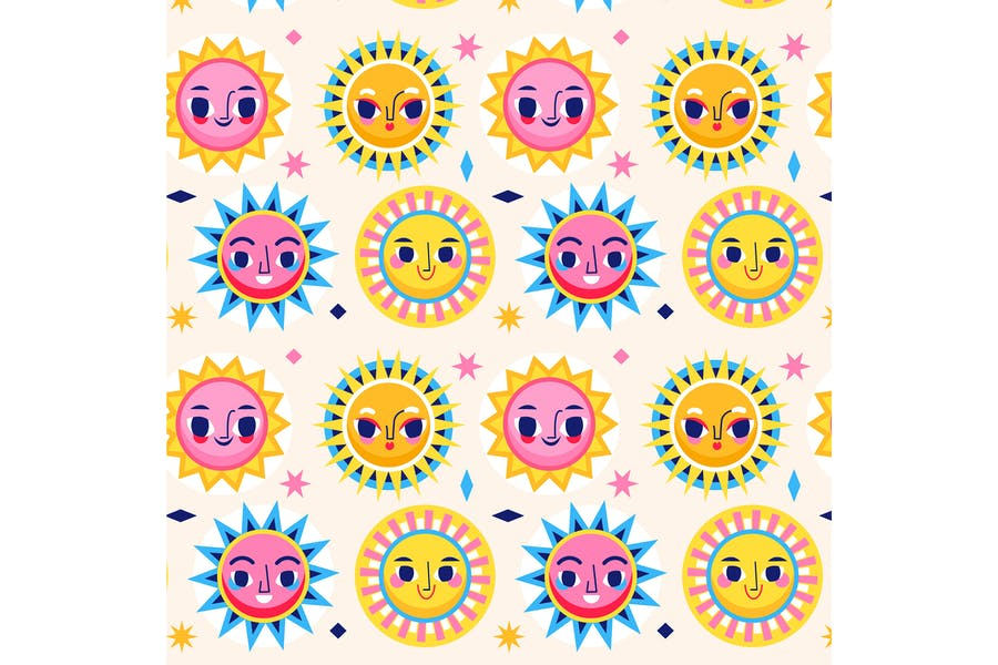 Nahtloses flaches Sonnenmuster