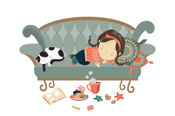 Thumbnail for Lazy sleeping girl with cat. Vector