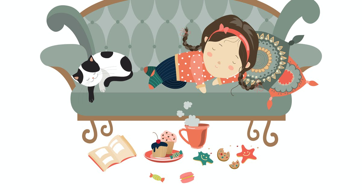 Download Lazy sleeping girl with cat. Vector by masastarus