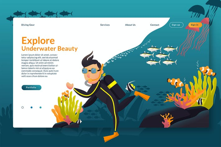 Thumbnail for Explore Underwater - Web Header & Vector GR
