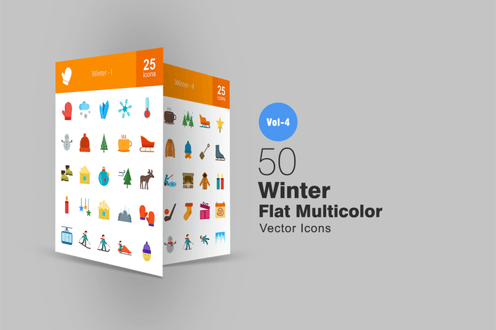 Thumbnail for 50 Winter Flat Multicolor Icons