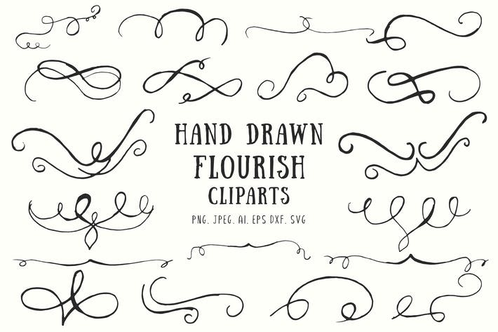 Thumbnail for 20+ Flourish Hand Drawn Cliparts