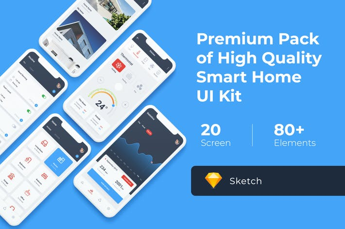 Thumbnail for Smart Home Mobile UI KIT for Sketch