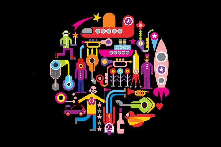 Thumbnail for Celebration Party round shape vector illustration