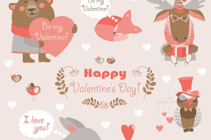 Thumbnail for Vector set of fun animals with hearts and flowers