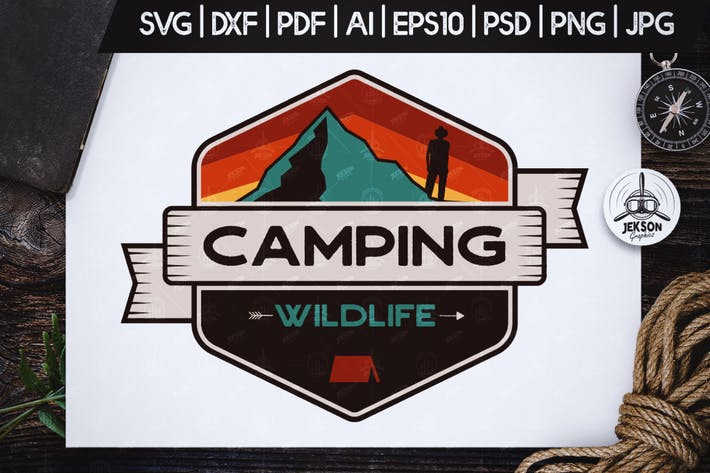 Thumbnail for Camping Wild Badge / Vintage Travel Logo Patch SVG