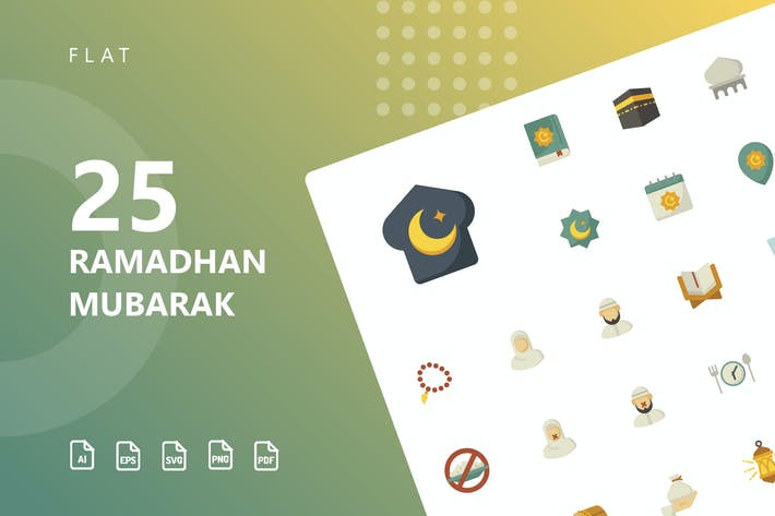 Ramadhan Mubarak Flache Icons