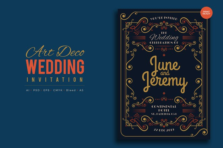 Thumbnail for Art Deco Wedding Invitation PSD And Vector Vol.8