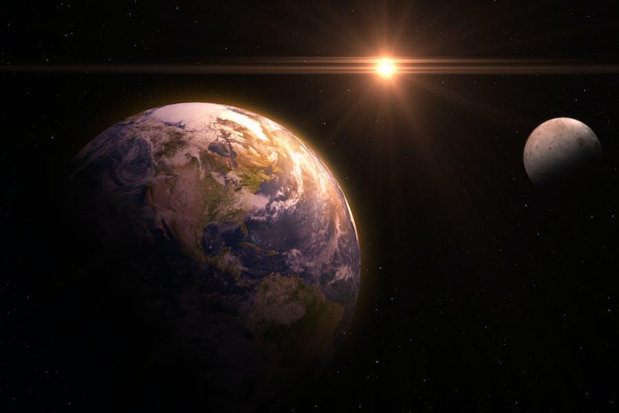 Erde und Mond Hintergrund V1