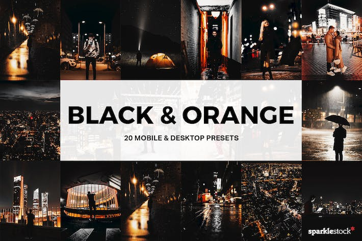 Thumbnail for 20 Black & Orange Lightroom Presets and LUTs