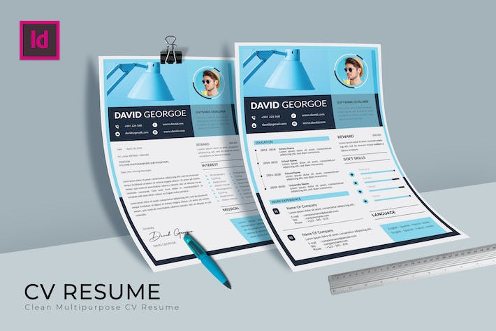 Thumbnail for Softy Blue CV Resume Template