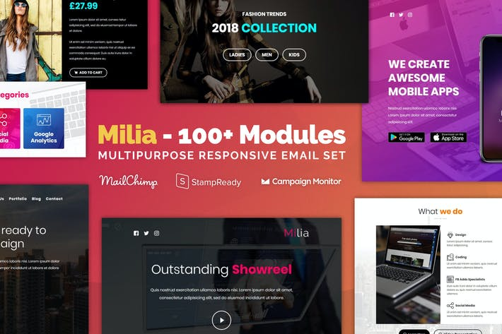 Cover Image For Milia - Responsive Email with 100+ Modules