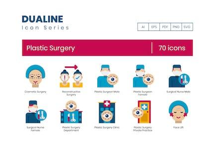 70 Icons für plastische Chirurgie - Dualine Flat-Serie