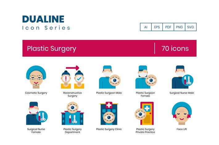 70 Plastic Surgery Icons - Dualine Flat Series