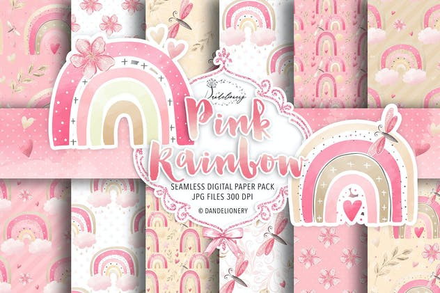 Pink rainbow digital paper pack