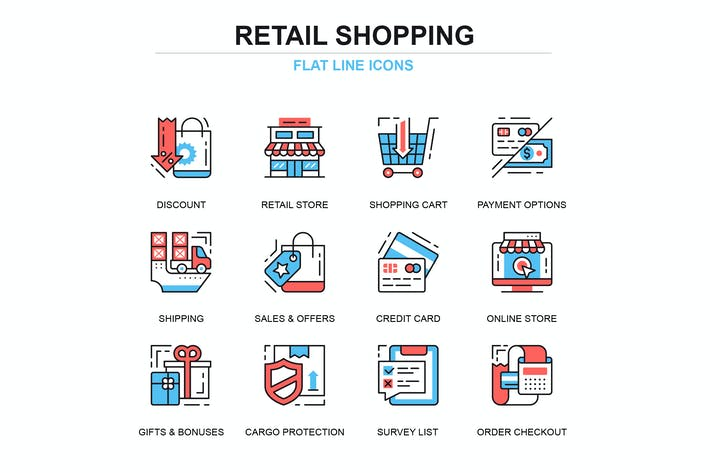 Cover Image For Thin line shopping and e-commerce icons set