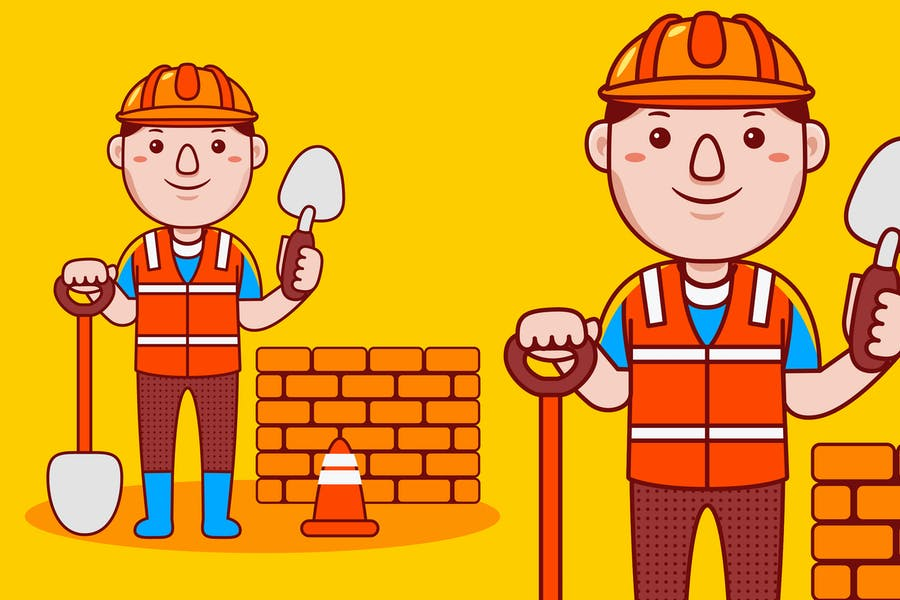Mann-Baumeister Beruf Cartoon Vektor