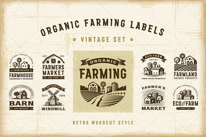Thumbnail for Vintage Organic Farming Labels Set