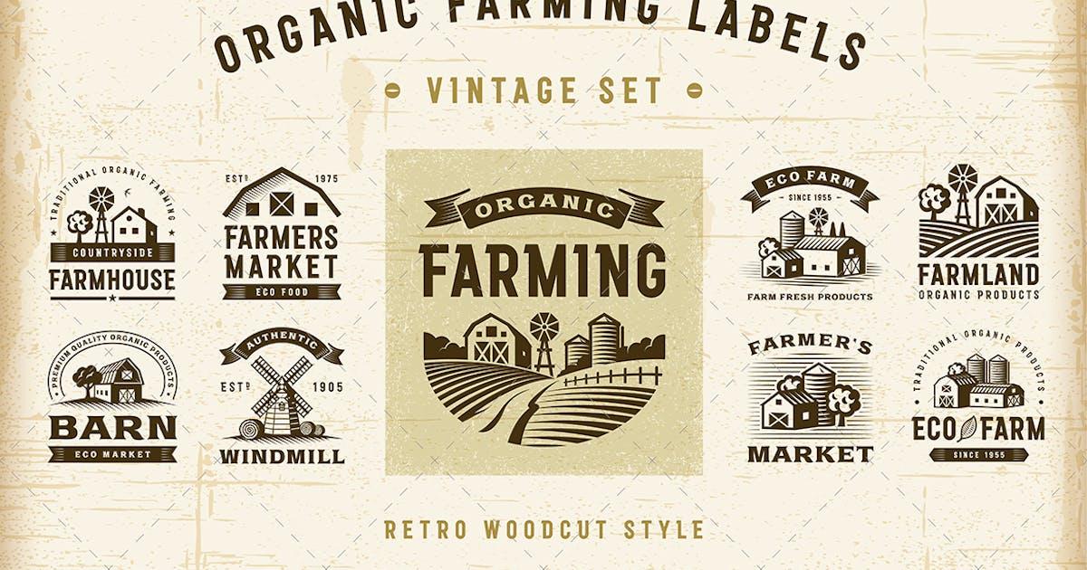 Download Vintage Organic Farming Labels Set by iatsun