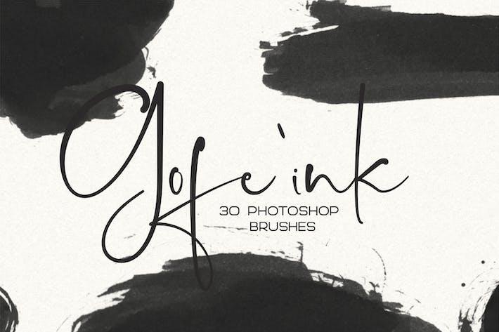 Thumbnail for 30 pinceles de Tinta Gofe para Photoshop