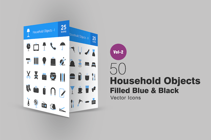 Cover Image For 50 Household Objects Blue & Black Icons