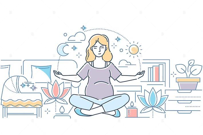 Thumbnail for Yoga de embarazo - ilustración de estilo de diseño de línea