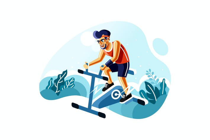 Thumbnail for Man Riding Exercise Stationary Bike