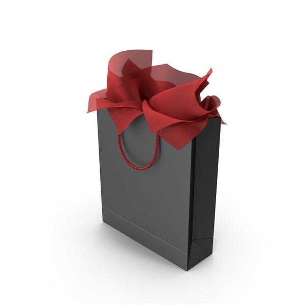 Черная сумка для покупок с красной подарочной бумагой