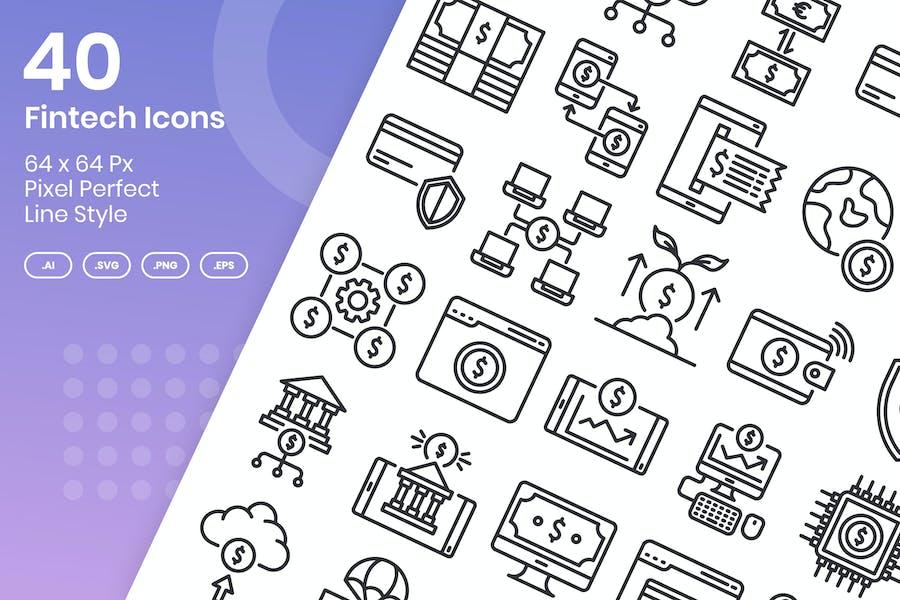 40 Fintech Icons Set - Line