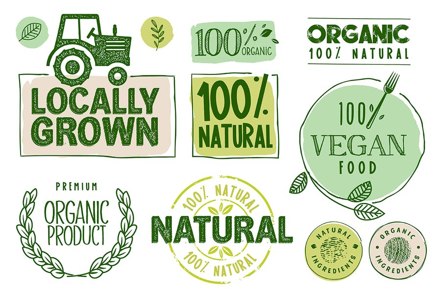 Organic Food Stickers and Labels Collection